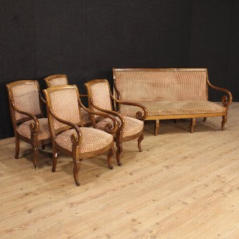 Antique Pair of French armchairs in walnut of the 19th century