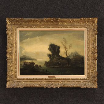 Antique Antique French painting seascape with figures of the 18h century