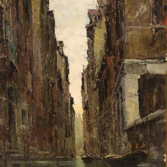Antique Italian painting view of Venice