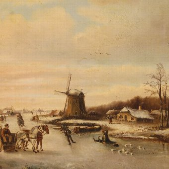 Antique Antique Flemish painting depicting winter landscape of the 19th century
