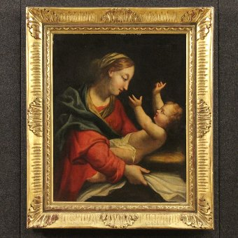 Antique Antique Italian painting Madonna with child of the 18th century