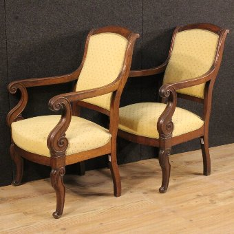 Antique Antique pair of French armchairs in Empire style of the 19th century