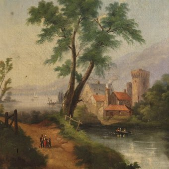 Antique Antique landscape painting oil on canvas from 19th century