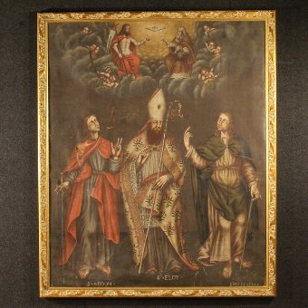Antique Antique French painting Adoration of Saints with little angels from 18th-century