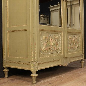 Antique Italian lacquered and painted wardrobe in Louis XVI style