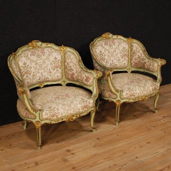 Antique  Pair of lacquered and golden Venetian armchairs