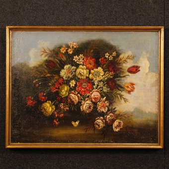 Antique Italian painting still life with flowers from the early 20th century