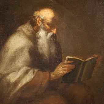 Antique Antique religious painting Saint Jerome from 18th century