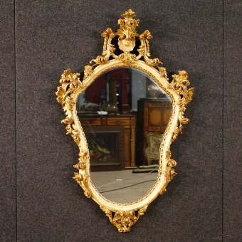 Antique Italian lacquered and gilt mirror