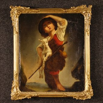 Antique Antique French painting Shepherd boy with goat of the 19th century