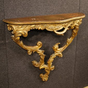 Antique Italian console table in golden wood