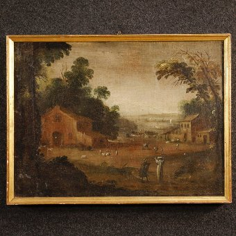 Antique Antique French painting landscape with figures of the 18th century