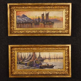 Antique Pair of French paintings seascapes with boats