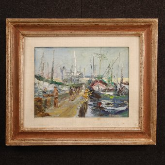 Antique Italian signed painting Port of Alassio
