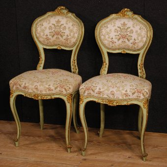 Antique Pair of lacquered and golden Venetian chairs