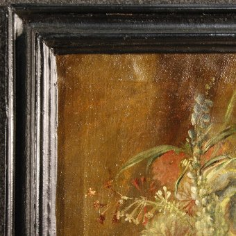 Antique Antique Italian still life painting Vase with flowers of the 19th century