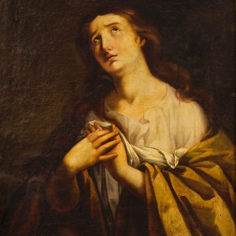 Antique Antique French religious Painting  Mary Magdalene of the 19th century