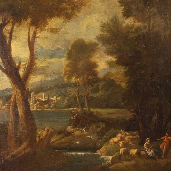 Antique Antique Italian landscape painting oil on canvas from the 19th century