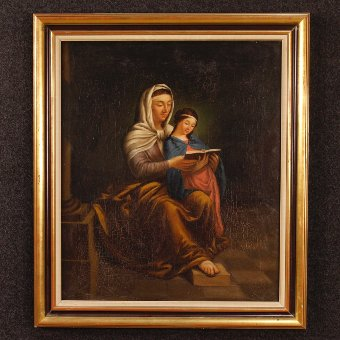 Antique Antique French painting Saint Anne with Mary of the 19th century