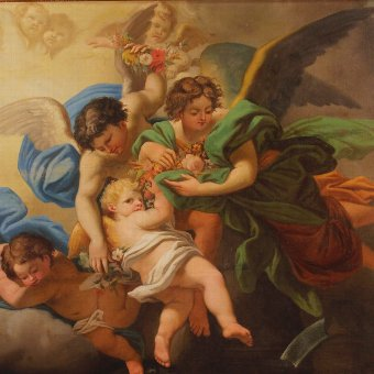 Antique Antique Italian painting Little angels of the 19th century