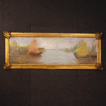 Antique French painting oil on panel Seascape with boats
