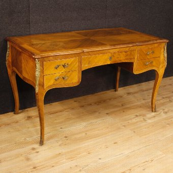 Antique French inlaid writing desk in Louis XV style
