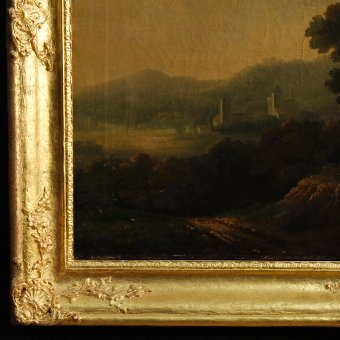 Antique Antique French painting landscape with architecture from 19th-century