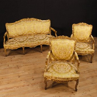 Antique Antique golden sofa in Louis XV style of the 19th century
