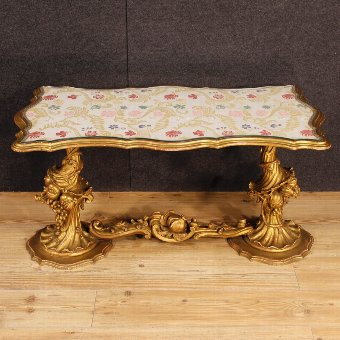 Antique Italian coffee table in golden wood