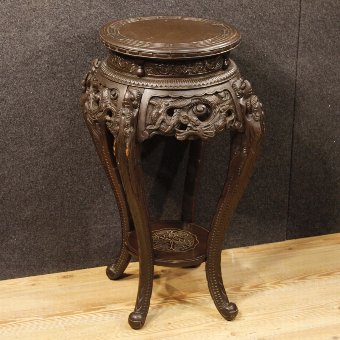 Antique Chinese side table in carved wood