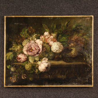 Antique Antique French painting still life with flowers of the 19th century