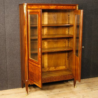 Antique French inlaid showcase in mahogany wood