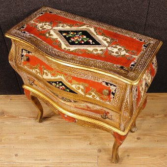 Antique Florentine lacquered, golden and painted dresser
