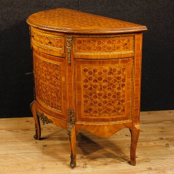 Antique French inlaid demilune sideboard