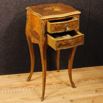 Antique French lacquered, golden and painted side table
