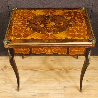 Antique French inlaid game table with golden bronzes