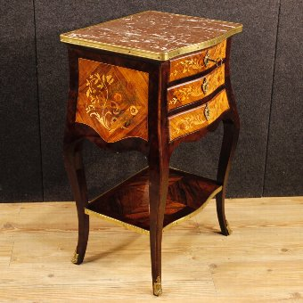 Antique French inlaid night stand with marble top