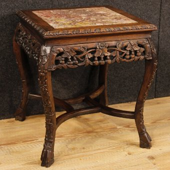 Antique Chinese side table in wood with marble top