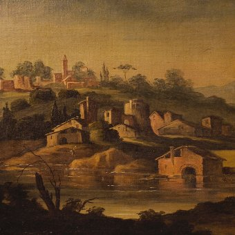 Antique Antique painting landscape with characters and architecture of the 19th century