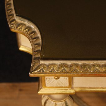 Antique Italian lacquered and golden side table in Louis XVI style