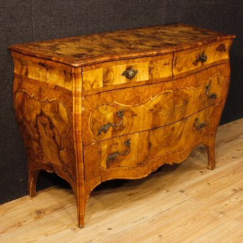 Antique Lombard dresser in walnut and burl wood