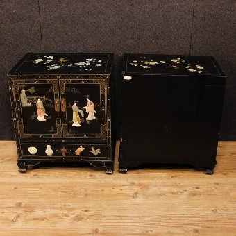 Antique Pair of French bedside tables in lacquered and painted chinoiserie wood