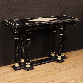 Antique French console in lacquered faux marble wood