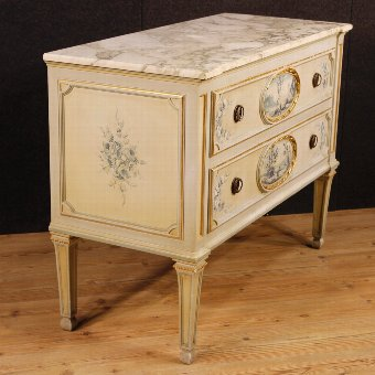 Antique Italian lacquered dresser with marble top in Louis XVI style
