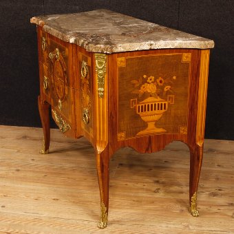 Antique French inlaid dresser with marble top in Louis XV style