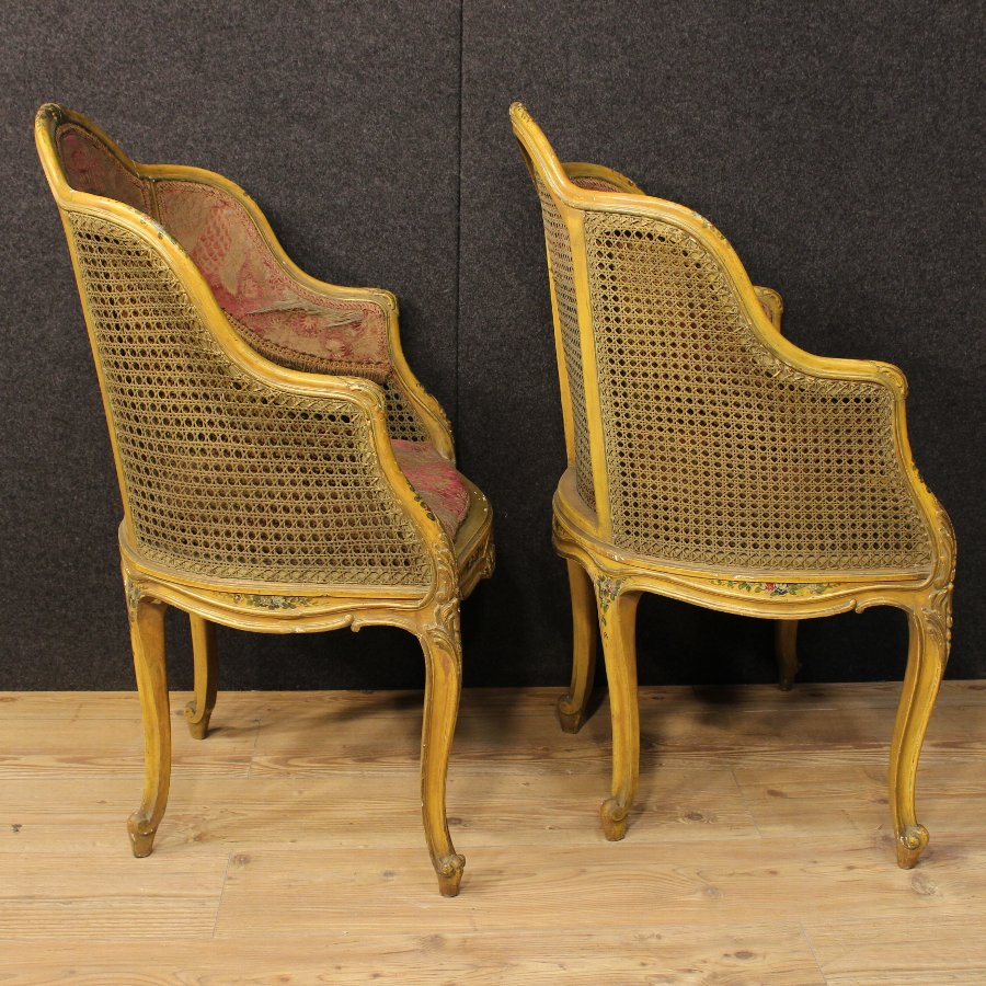 Antique Pair of Venetian lacquered armchairs of the 20th century