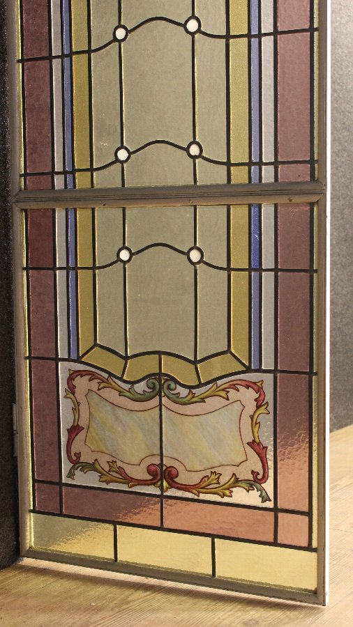 Antique Pair of Italian glass windows of the 20th century