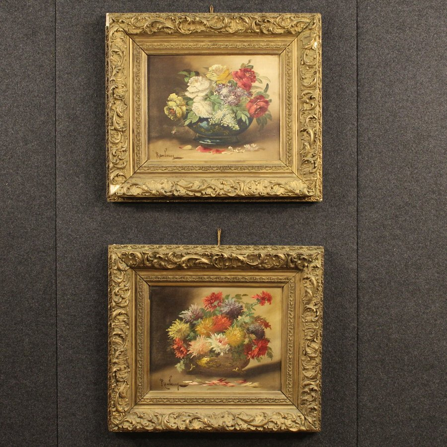 Antique Pair of French paintings from the early 20th century