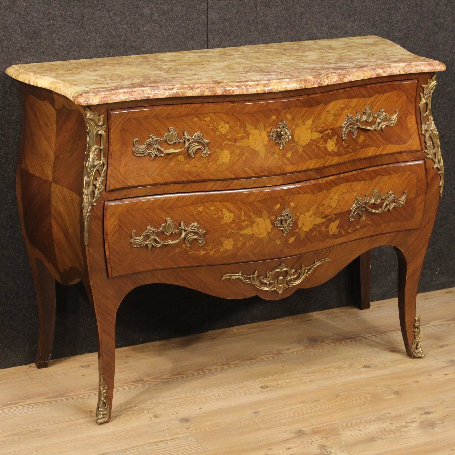 French inlaid dresser with marble top of the 20th century