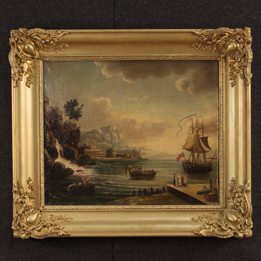 Antique French seascape painting oil on canvas of the 19th century
